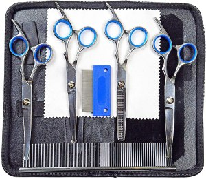Pet Grooming Scissors Kit For Dogs or Cats - Thinning, Blending, Curved Shears with Rounded Tips- For Long Hair, Large or Small Dog, Cat - Set Includes Eye, Face Comb - Professional Groomer Supplies