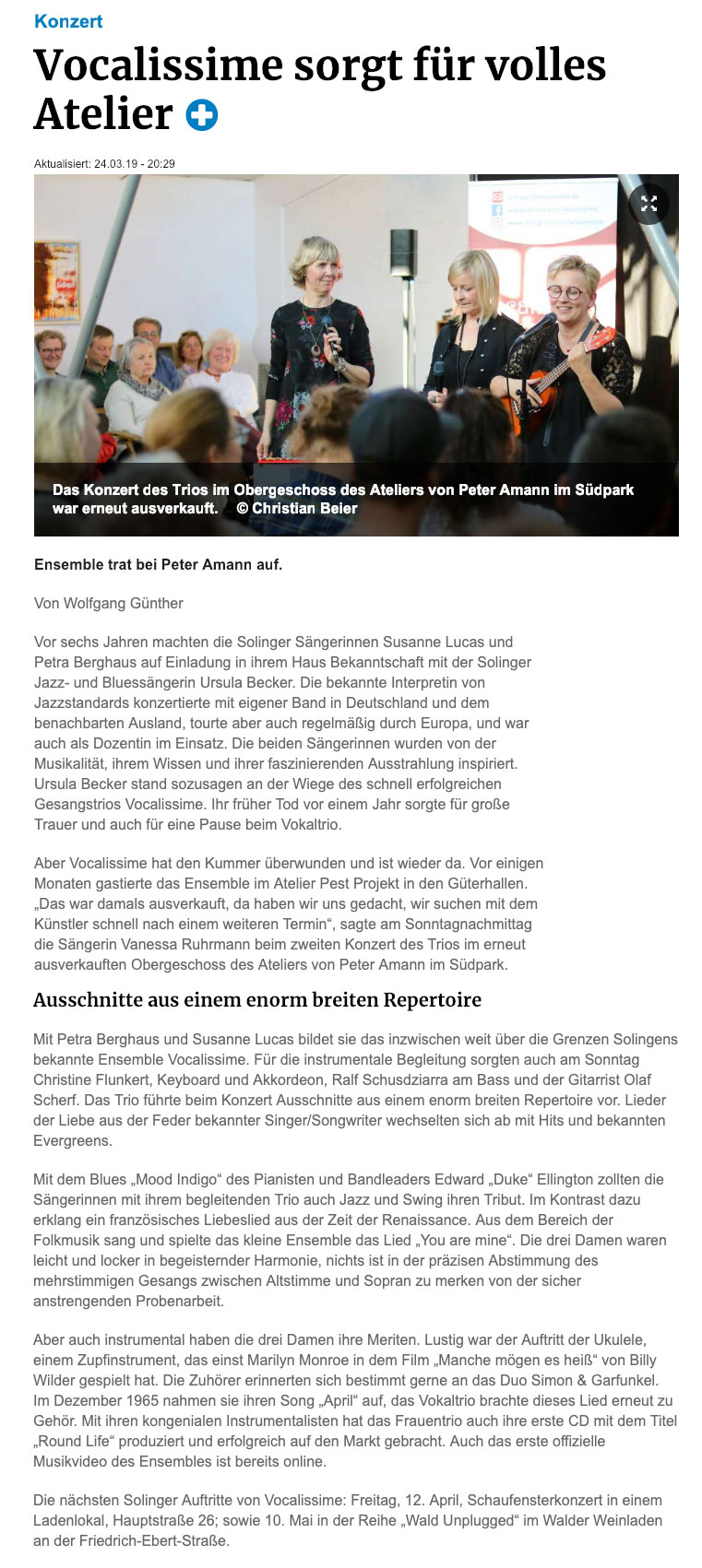 Pressebericht Vocalissime in den Güterhallen 2019