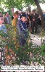 Niezsalovszki Ernő hadnagy, veterán lengyel pilóta. Katyni Mártírok emlékoszlopának avatása Tatabánya