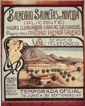 Cartel anunciador de estilo modernista, que estuvo expuesto en el Casino de Novelda desde 1920 a 1930 (fotografía cedida por Pau Herrero).