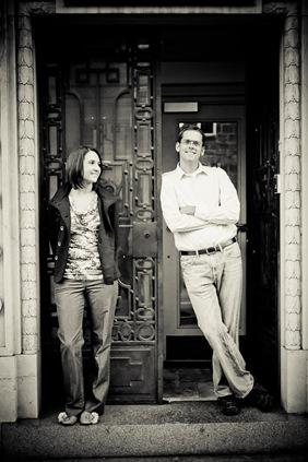 man and woman in Ellicott City in front of door