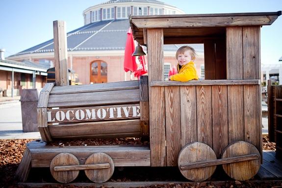 boy playing on toy trainat Baltimore & Ohio Railroad Museum
