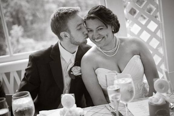 bride and groom at wedding table at Mt. Airy Mansion in Upper Marlboro Maryland