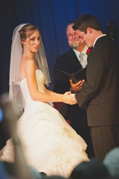 Bride and groom during ceremony in Mechanicsville MD