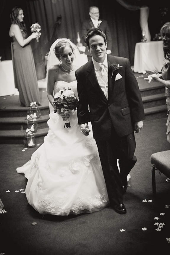 bride and groom walking back down the isle in Mechanicsville MD