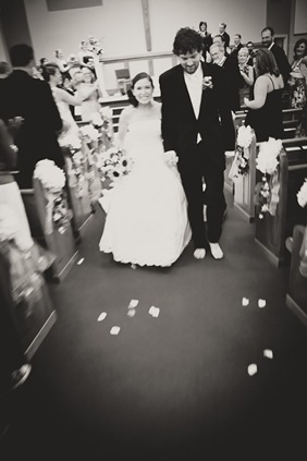 bride and groom walking back down the isle at Annapolis EP