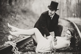 The Villain Ties the Maden to the Tracks - Engagement Session