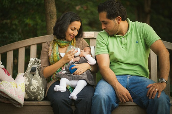 Adorable family at McCrillis Gardens in Maryland