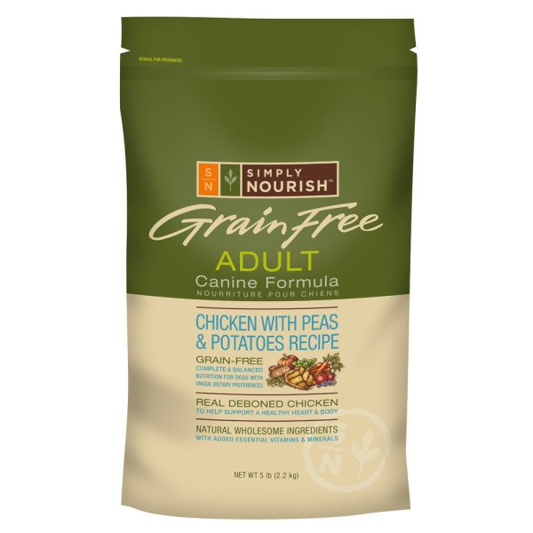 Simply Nourish Grain Free Adult Dog Food - Natural, Chicken with Peas ...