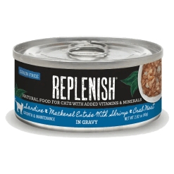 Replenish Sardine & Mackerel Entrée with Shrimp & Crab Meat in Gravy Cat Can Food