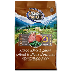 NutriSource Dog Food, Grain Free Large Breed Lamb Pea Formula.