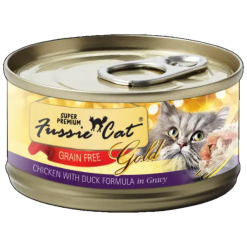 Fussie Cat Super Premium Chicken with Duck Canned Food.