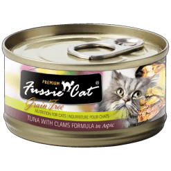 Fussie Cat Premium Tuna with Clams Canned Food.
