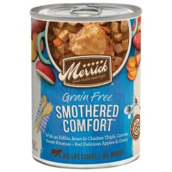Merrick Grain-Free Smothered Comfort Canned Dog Food, 12.7-oz Can.