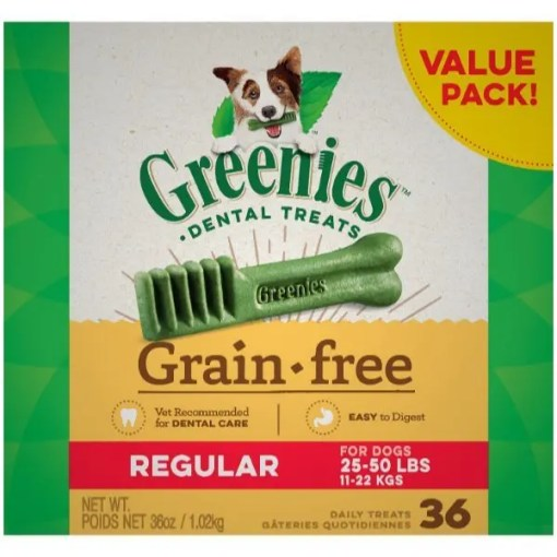 Greenies Grain Free Regular Dental Dog Treats, 36 Treat Box.