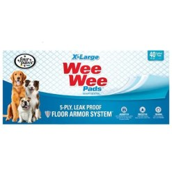 Wee-Wee Absorbent Dog Pads, Extra Large, 40 Pad Box.