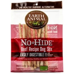 Earth Animal No-Hide Beef Chew, STIX, 10 Pack.