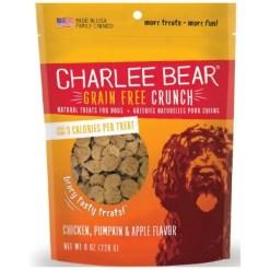 Charlee Bear Natural Bear Crunch Chicken, Pumpkin & Apple Grain-Free Dog Treats, 8-oz bag.
