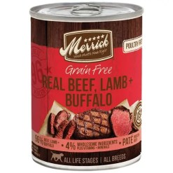 Merrick Grain-Free Real Beef, Lamb & Buffalo Canned Dog Food, 12.7-oz Can.