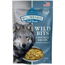 Blue Buffalo Wilderness Trail Treats Chicken Wild Bits Grain-Free Dog Treats, 4-oz Bag.