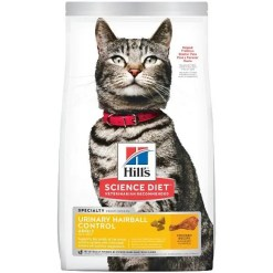 Hill's Science Diet Adult Urinary Hairball Control Dry Cat Food, 7-lb Bag.