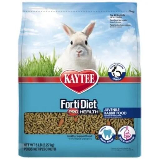 Kaytee Forti-Diet Pro Health Juvenile Rabbit Food, 5-lb Bag.