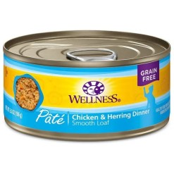 Wellness Complete Health Chicken & Herring Formula Grain-Free Canned Cat Food, 5.5-oz Can.