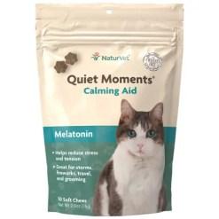 NaturVet Quiet Moments Calming Aid Plus Melatonin Cat Soft Chews, 50 count Bag.