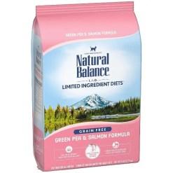 Natural Balance L.I.D. Limited Ingredient Diets Green Pea & Salmon Formula Grain-Free Dry Cat Food, 5-lb Bag.