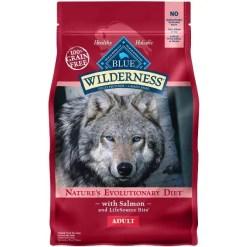 Blue Buffalo Wilderness Salmon Recipe Grain-Free Dry Dog Food, 4.5-lb Bag.