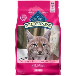 Blue Buffalo Wilderness Salmon Recipe Grain-Free Dry Cat Food, 5-lb Bag.
