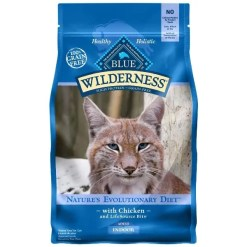 Blue Buffalo Wilderness Indoor Chicken Recipe Grain-Free Dry Cat Food, 2-lb Bag.