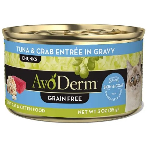 AvoDerm Natural Grain-Free Tuna & Crab Entree in Gravy Canned Cat Food, 3-oz, Case of 24.