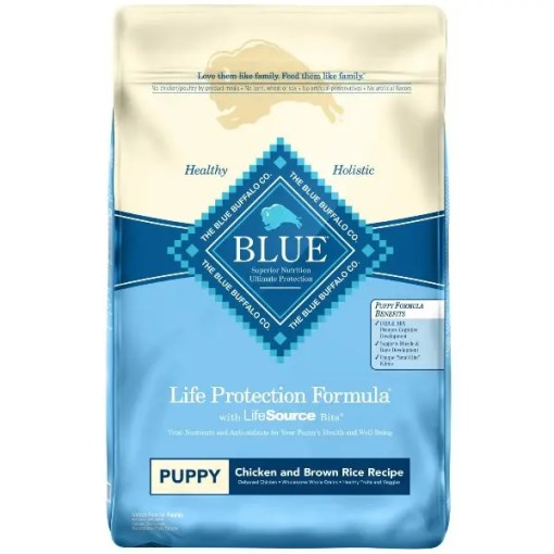 Blue Buffalo Life Protection Formula Puppy Chicken & Brown Rice Recipe Dry Dog Food, 30-lb Bag.