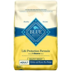 Blue Buffalo Life Protection Formula Healthy Weight Adult Chicken & Brown Rice Recipe Dry Dog Food, 30-lb Bag.