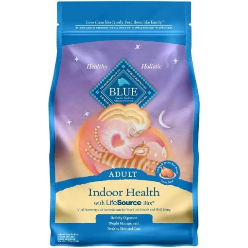 Blue Buffalo Indoor Health Chicken & Brown Rice Recipe Adult Dry Cat Food, 7-lb Bag.