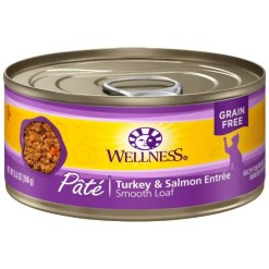 Wellness Complete Health Turkey & Salmon Formula Grain Free Canned Cat Food, 5.5-oz, Case of 24.