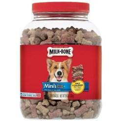 Milk-Bone Mini's Flavor Snacks Beef, Chicken & Bacon Flavored Biscuit Dog Treats, 36-oz Jar.