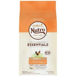 Nutro Wholesome Essentials Puppy Chicken & Brown Rice Recipe Dry Dog Food, 5-lb Bag.
