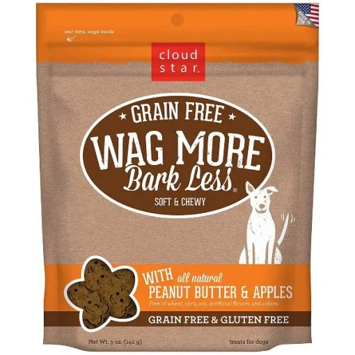 Wag More Bark Less Grain-Free Soft & Chewy with Peanut Butter & Apples Dog Treats, 5-oz Bag.
