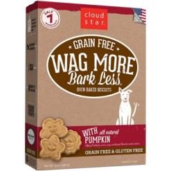 Cloud Star Wag More Bark Less Grain-Free Oven Baked with Pumpkin Dog Treats, 14-oz Box.