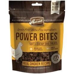 Merrick Power Bites Chicken Grain-Free Soft & Chewy Dog Treats, 6-oz Bag.