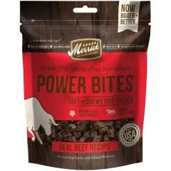 Merrick Power Bites Beef Grain-Free Soft & Chewy Dog Treats, 6-oz Bag.