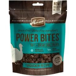 Merrick Power Bites Turducken Grain-Free Soft & Chewy Dog Treats, 6-oz Bag.