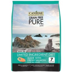 CANIDAE Grain-Free Limited Ingredient Diet PURE Sea with Salmon Dry Cat Food, 10-lb Bag.