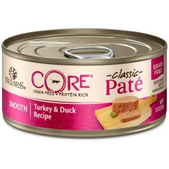 Wellness CORE Natural Grain Free Turkey & Duck Pate Canned Cat Food, 5.5-oz, Case of 24.