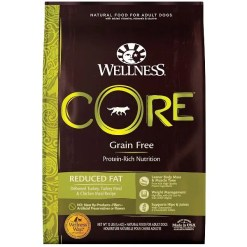 Wellness CORE Grain-Free Reduced Fat Turkey & Chicken Recipe Dry Dog Food, 12-lb Bag.
