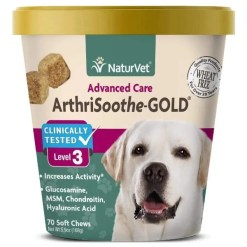NaturVet ArthriSoothe Gold Level 3 Dog & Cat Soft Chews, 70 Count.