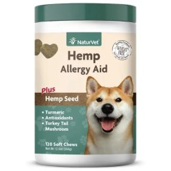 NaturVet Hemp Allergy Aid Plus Hemp Seed Dog Soft Chews, 120 Count.