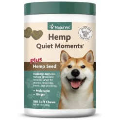NaturVet Hemp Quiet Moments Plus Hemp Seed Dog Soft Chews, 180 Count.
